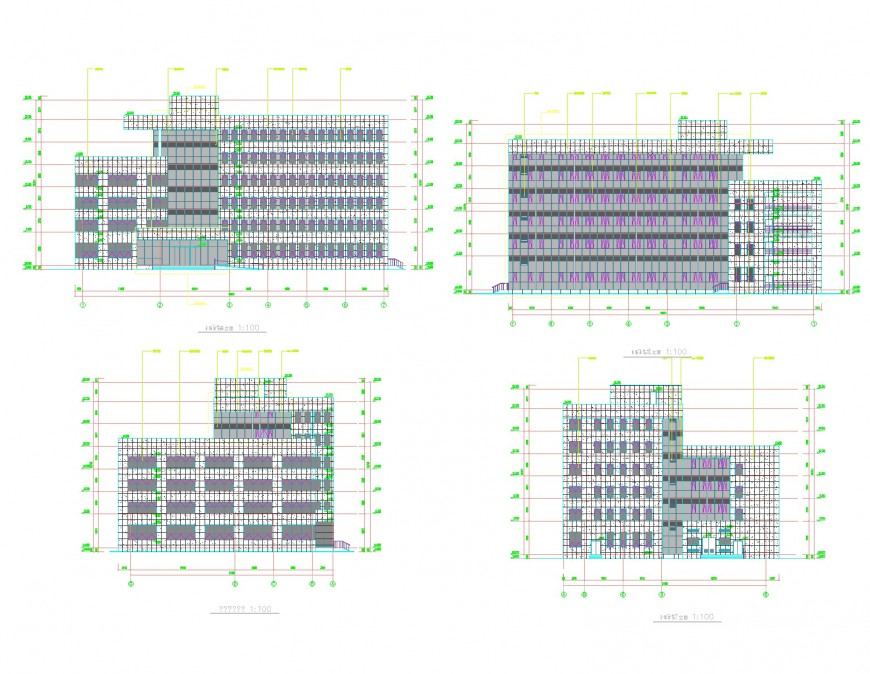 Apartment flat elevation detail dwg file