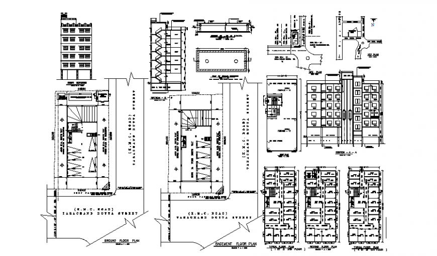 Apartment flat plan, elevation and section layout file