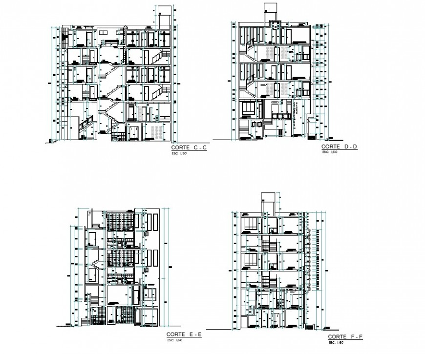 Apartment flat section plan detail dwg file