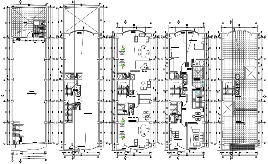 Apartment flats building floor plan distribution and structure drawing details dwg file