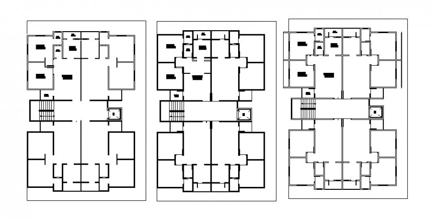 Apartment flats floor distribution layout plan cad drawing details dwg file