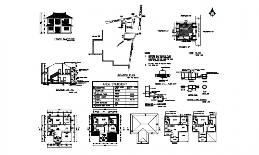 Apartment floor plan elevation and section with detail of septic tank in auto cad software