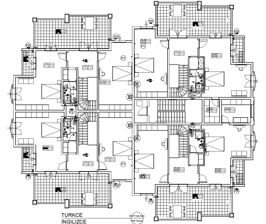 Apartment for dormitory plan in dwg file.