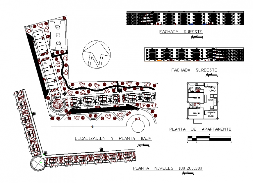 Apartment housing building elevation, plan, layout plan cad drawing details dwg file