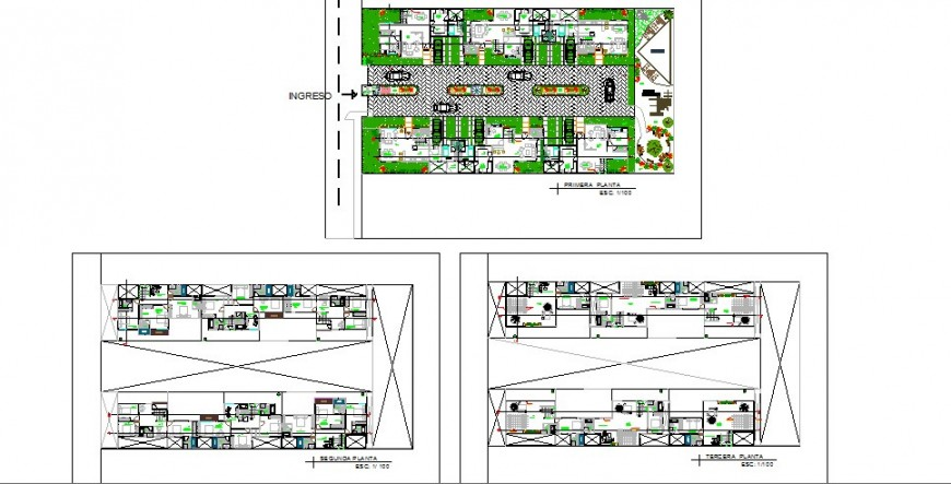 Apartment housing building first, second and third floor plan cad drawing details dwg file