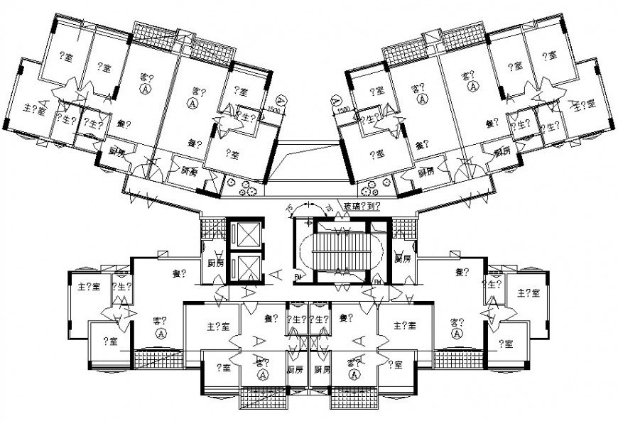 apartment layout plan cad file