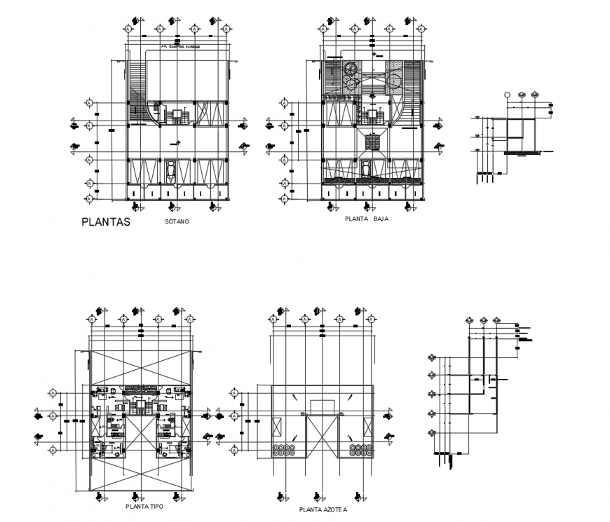 Apartment plan with parking system detail 2d view dwg file