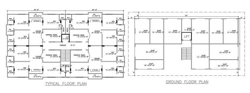 apartment residence layout plan with ground floor shop detail cad file