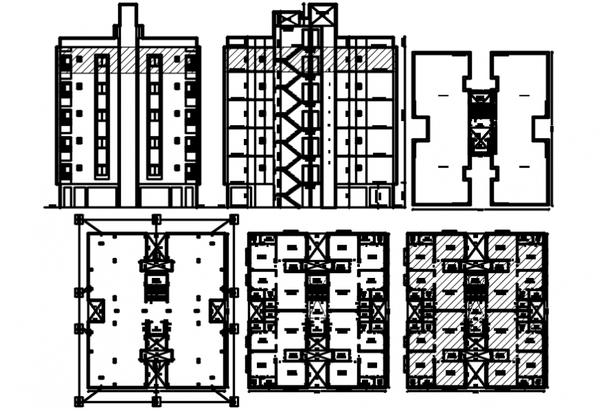 Apartment residential building main and back elevation and floor plan details dwg file