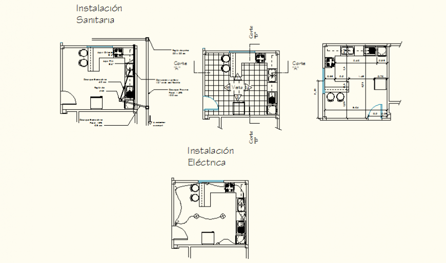 Apartment sanitary installation detail elevation and plan autocad file