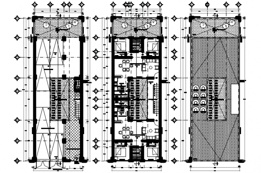 Apartment three story building floor plan cad drawing details dwg file