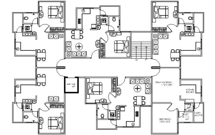 Apartment unit plan distribution plan with furniture drawing details dwg file