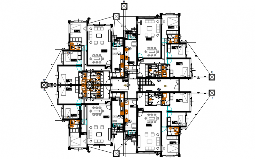 Apartment villa type houses floor distribution plan drawing details dwg file