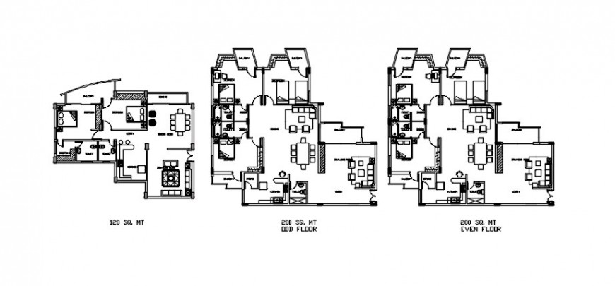 Apartment with different wings top view detail