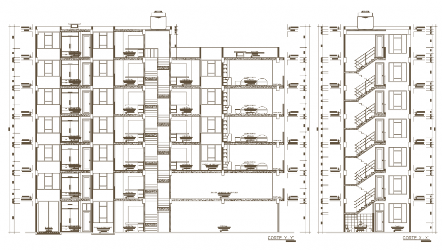 Apartment working drawing section in dwg file.