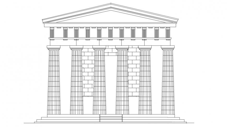 Appolo temple back elevation 2d model cad drawing details dwg file