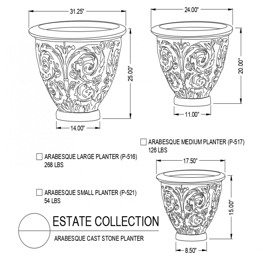 Arabesque cast stone flower pot design with different size dwg file