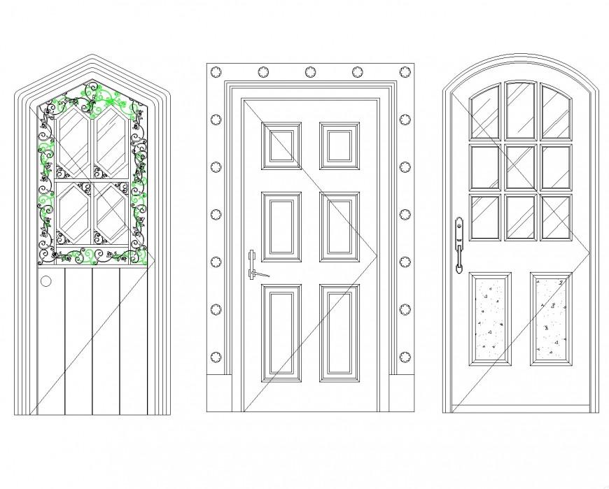 Arc design Aluminum door plan autocad file