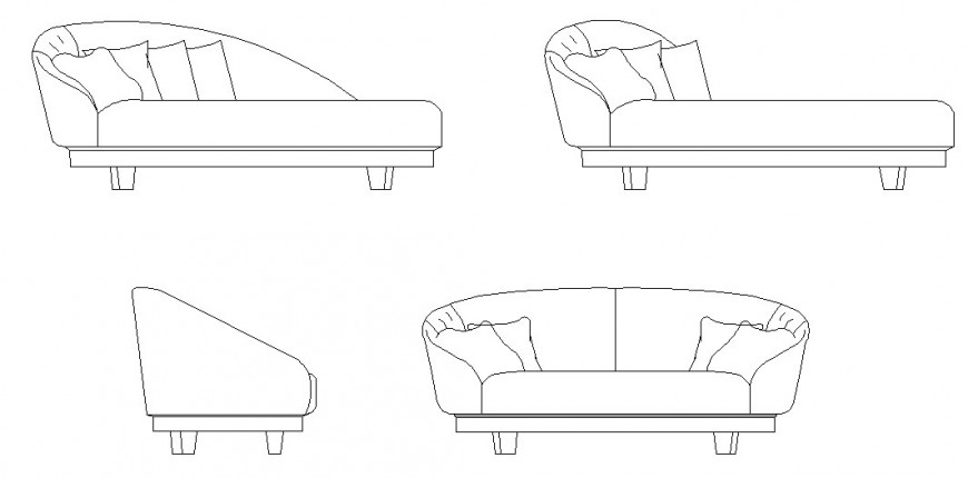 Arc shape of sofa elevation detail