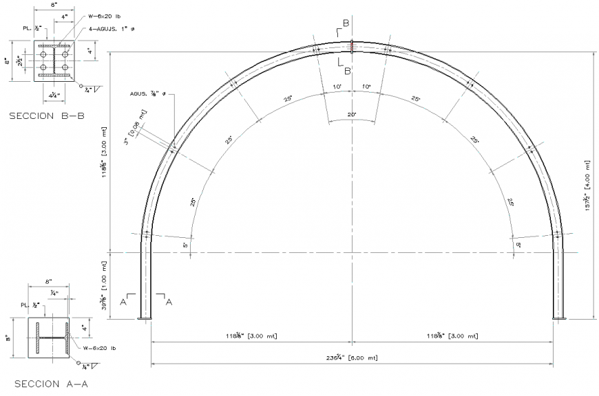 Arch center plan and section autocad file