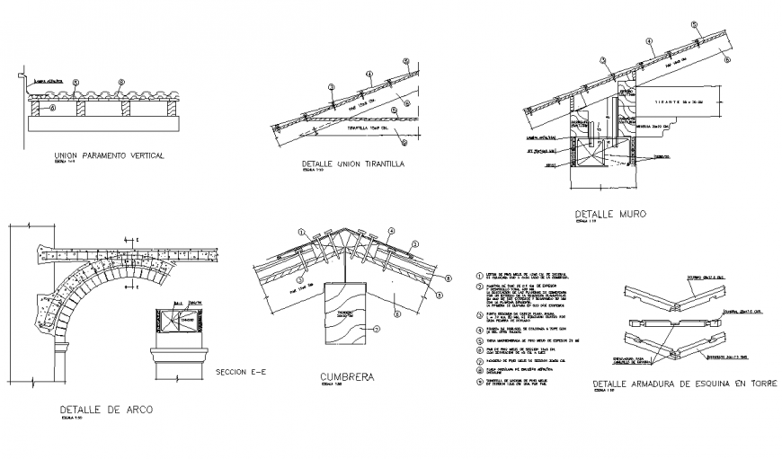 Arch sand wooden roof with Moorish tile autocad file