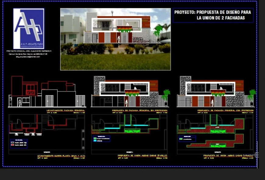 Architect design home detail, plan and elevation autocad file