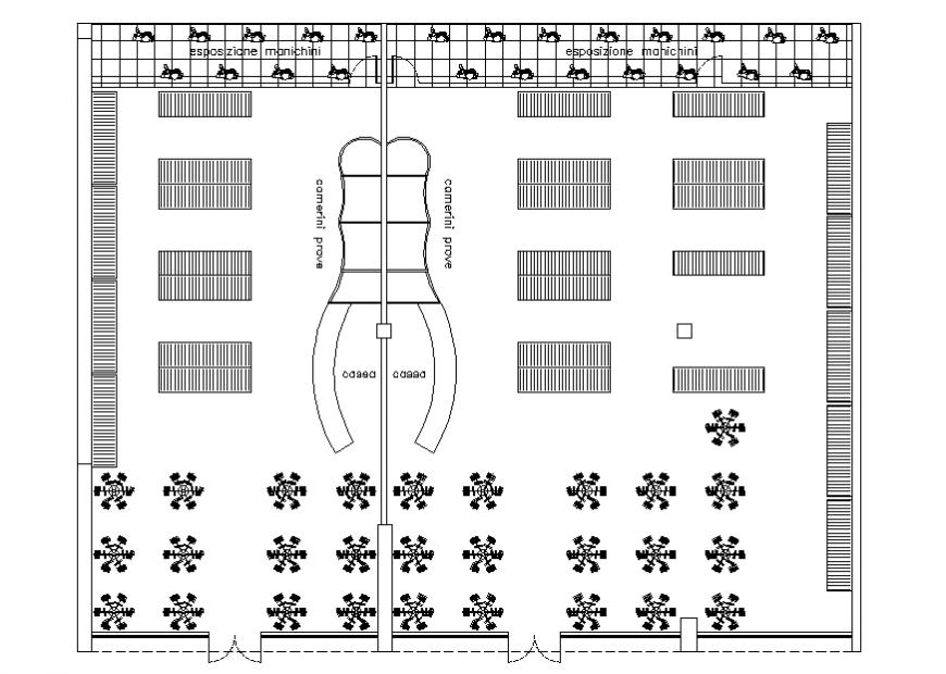 Architect design of cloth shop plan detail dwg file