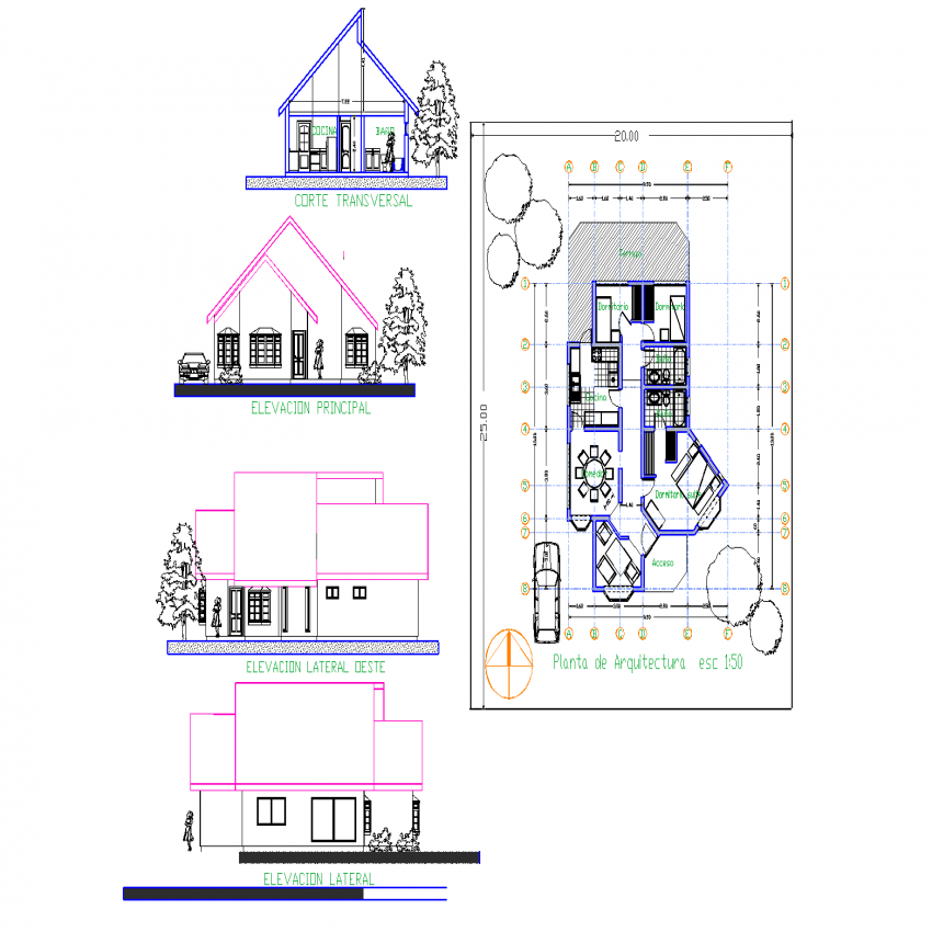 Architects house plan, elevation and section plan layout file
