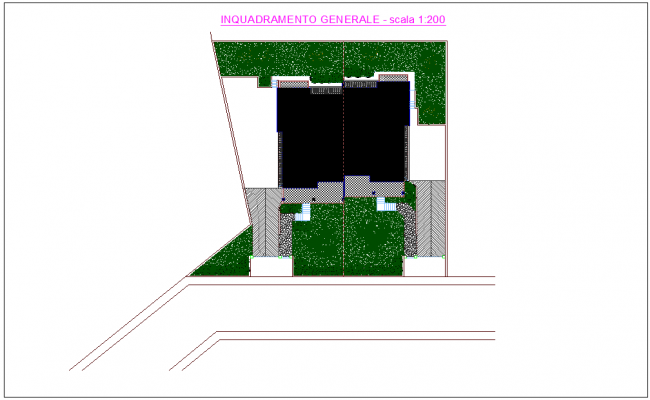 architectural view with layout of residence area dwg file