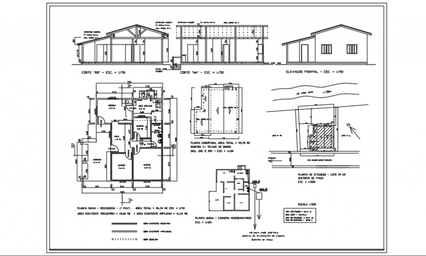 Architectural 2 BHK ground floor house design drawing