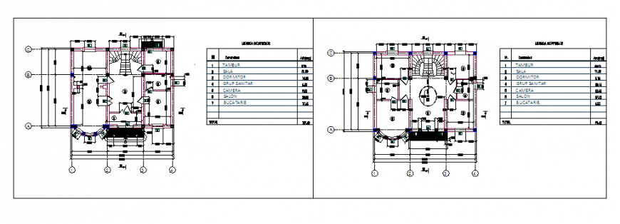 Architectural 2 storey house design drawing