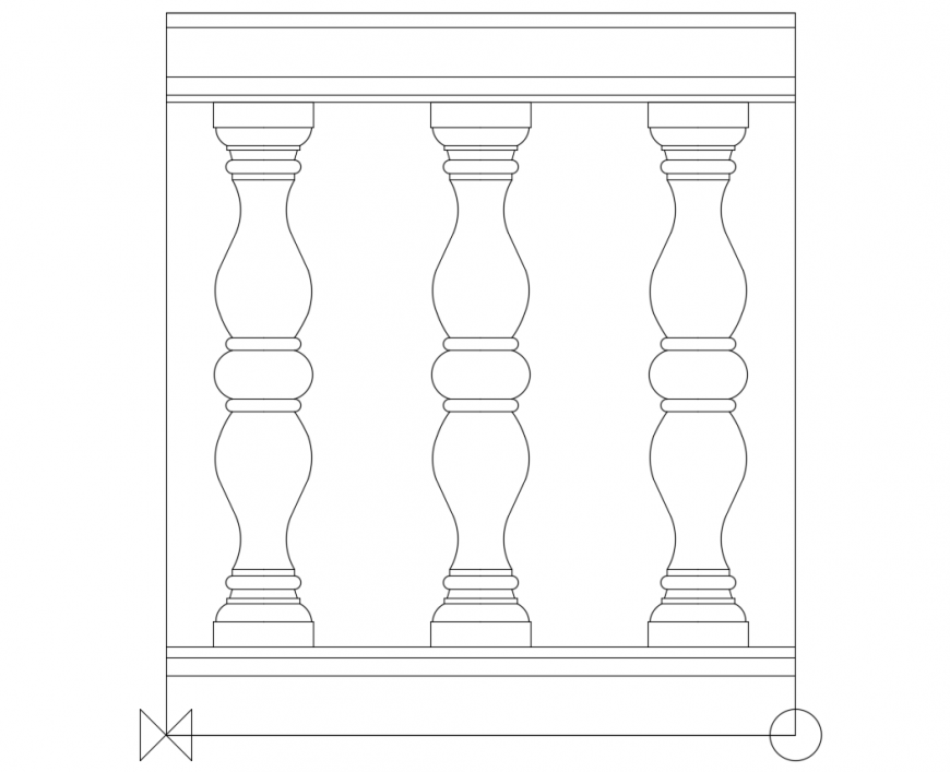 Architectural Balustrade with designer railing of elevation dwg file