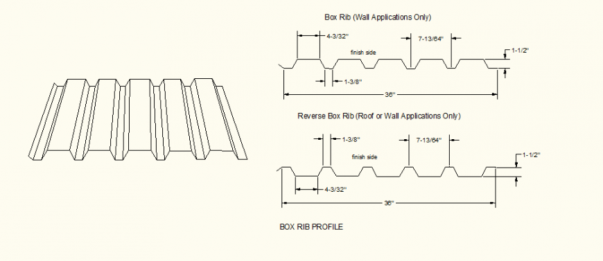 Architectural Box Rib Profile detail elevation layout file