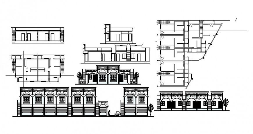 Architectural building drawings details elevation and plan autocad file