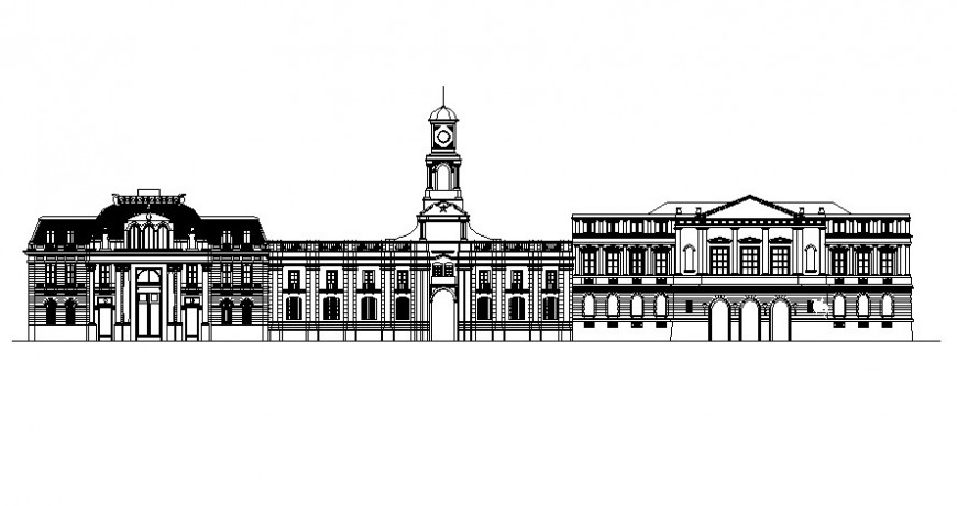 Architectural building elevation drawings 2d view autocad software file