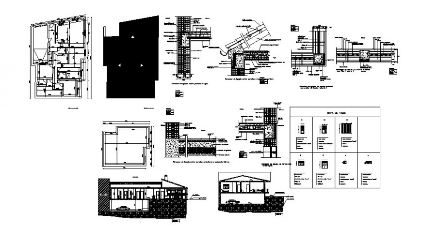 Architectural construction detail of the house in dwg AutoCAD file.