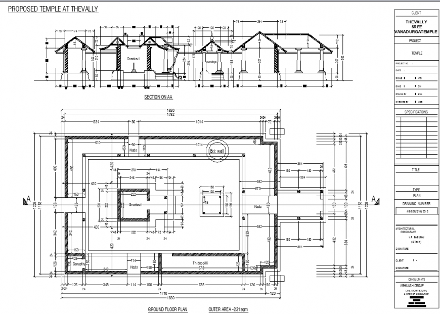Architectural construction layout plan of temple in dwg AutoCAD file.