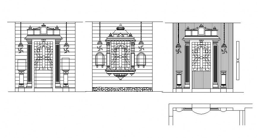 Architectural design details of door entrance and window autocad file