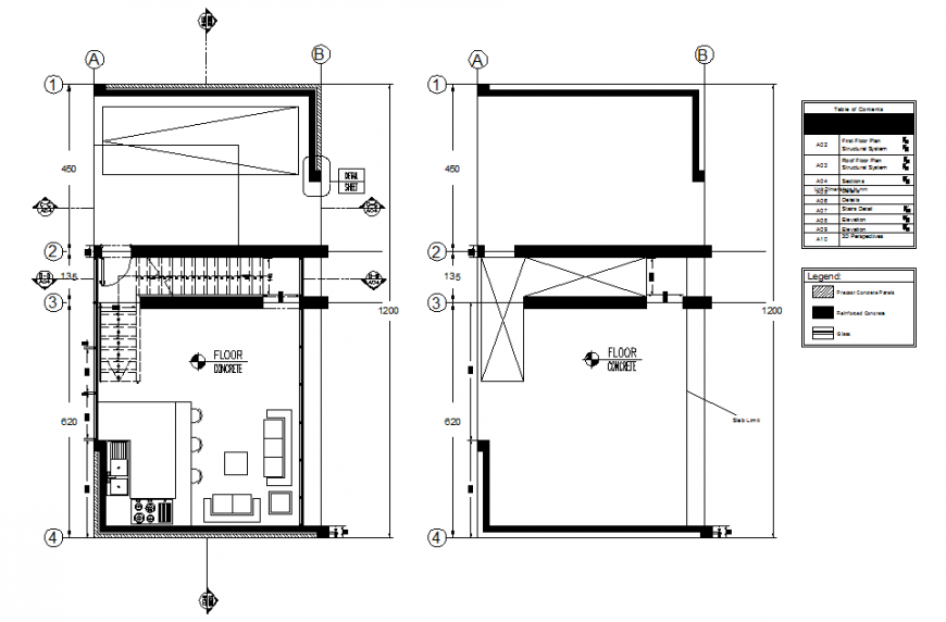 Architectural design house plan detail dwg file