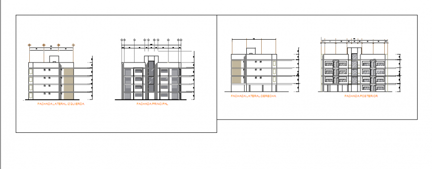 Architectural Elevation design of house design drawing