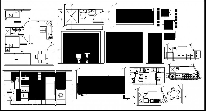 Architectural furniture detail plan 2d