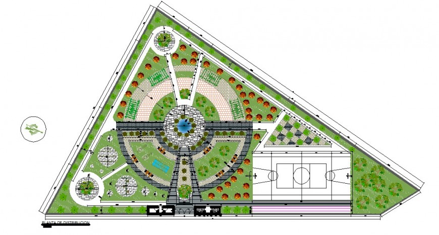 Architectural ground plan detail with the play area 2d view autocad file