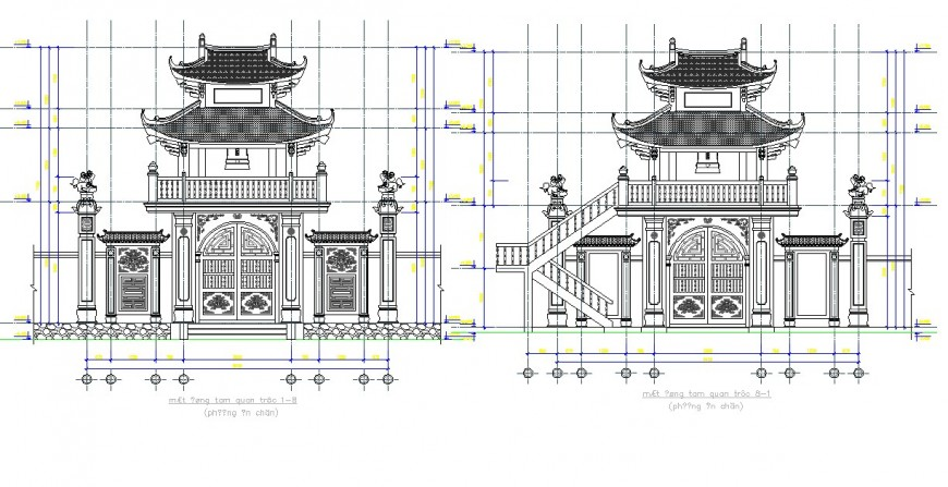 Architectural heritage building detail elevation 2d view layout file in autocad format