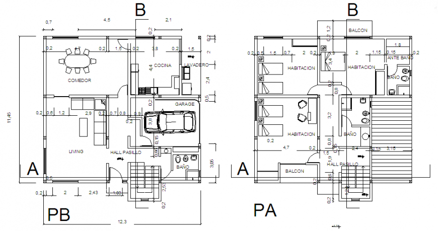 Architectural home 3 bed rooms duplex design drawing