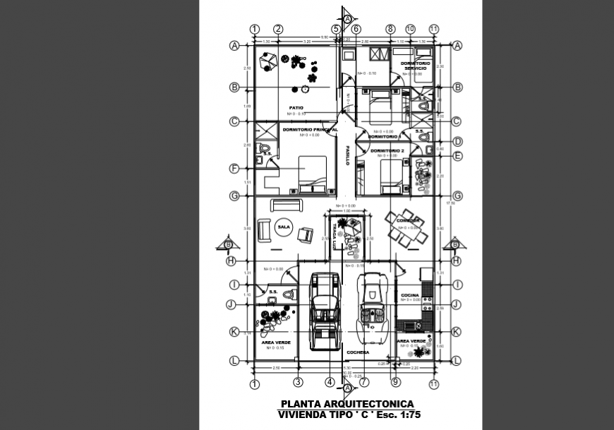Architectural layout design drawing of Villa design