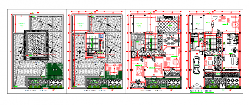 Architectural layout design drawing of villa house