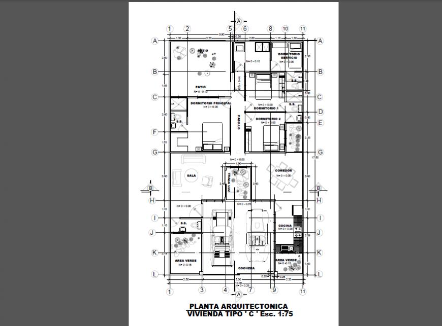 Architectural layout plan design drawing of villa design