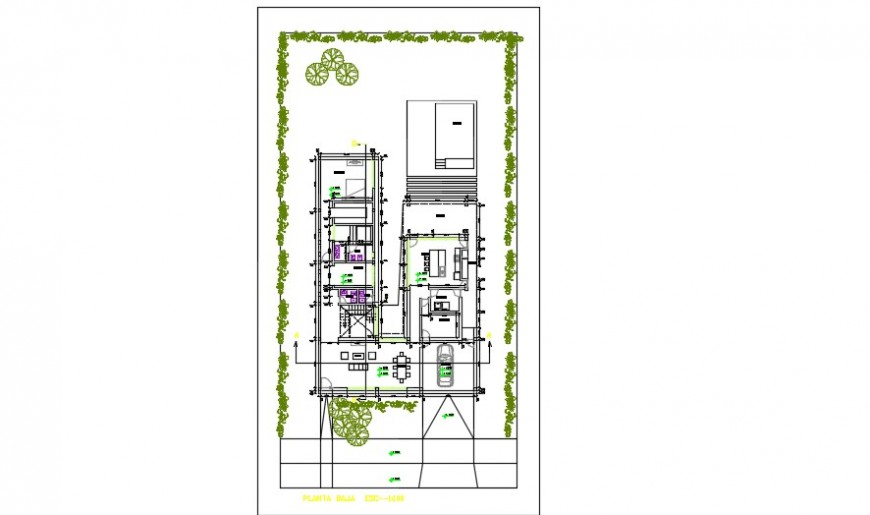 Architectural layout plan of a bungalow detail dwg file