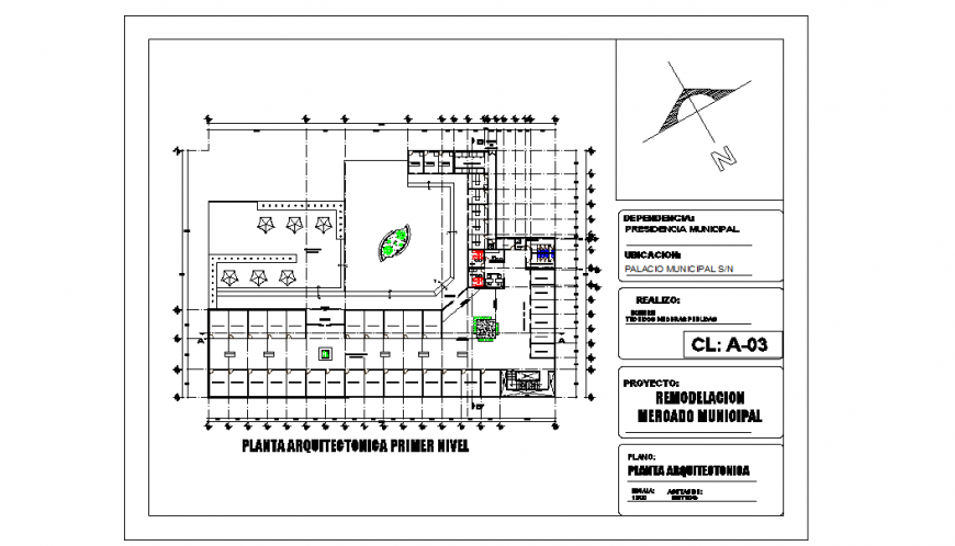 Architectural level first level Detail plan
