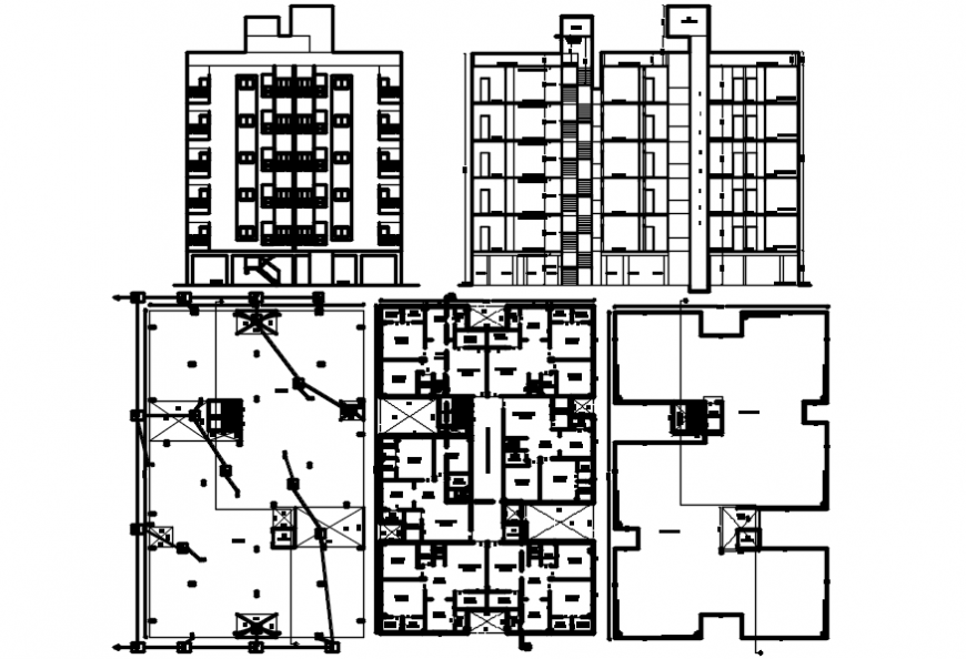 architectural plan and section of apartment